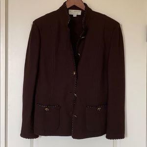 St. John Collection Brown Blazer Jacket, Size 12